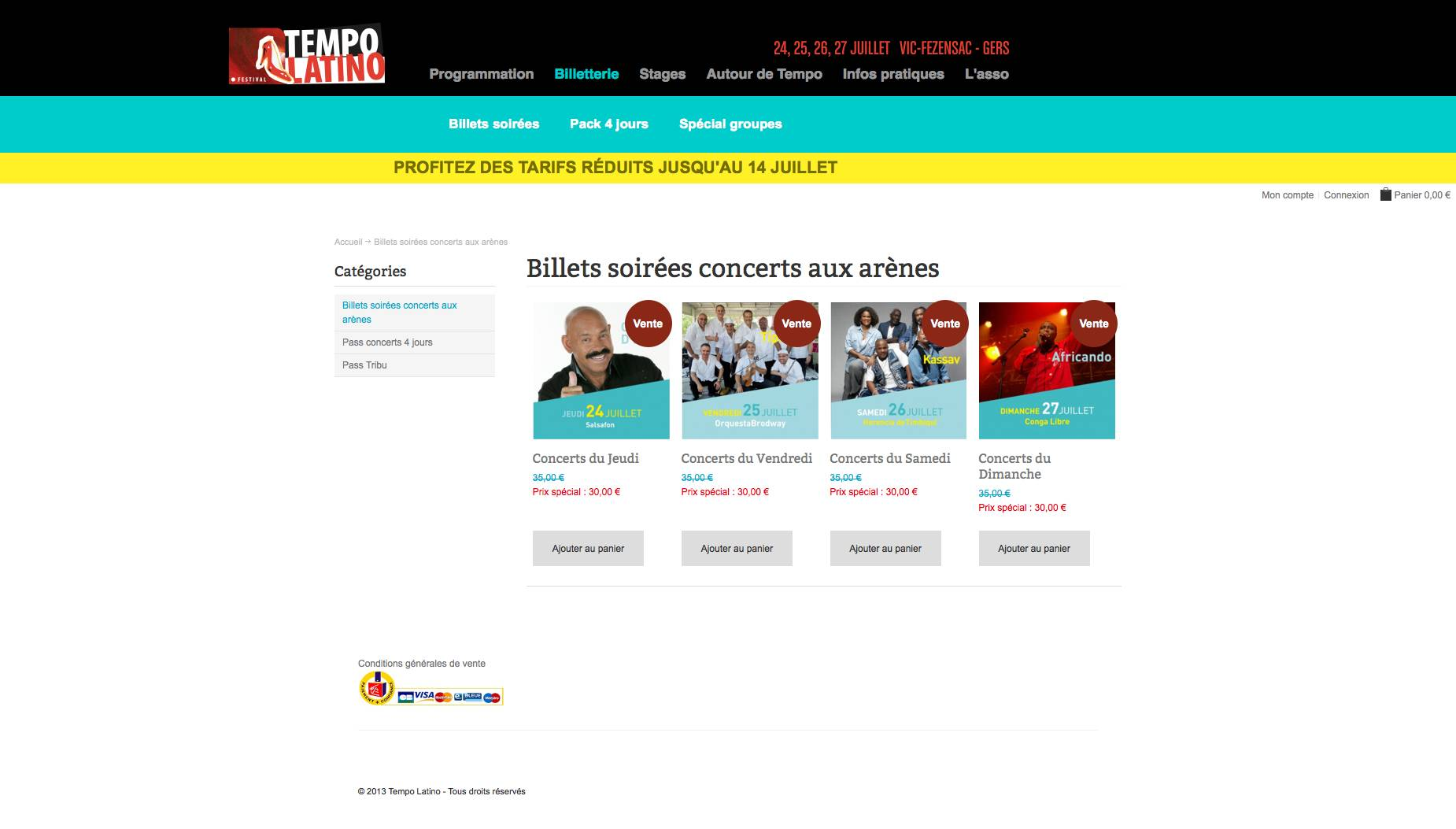 site magento commerce ebilletterie tempo latino